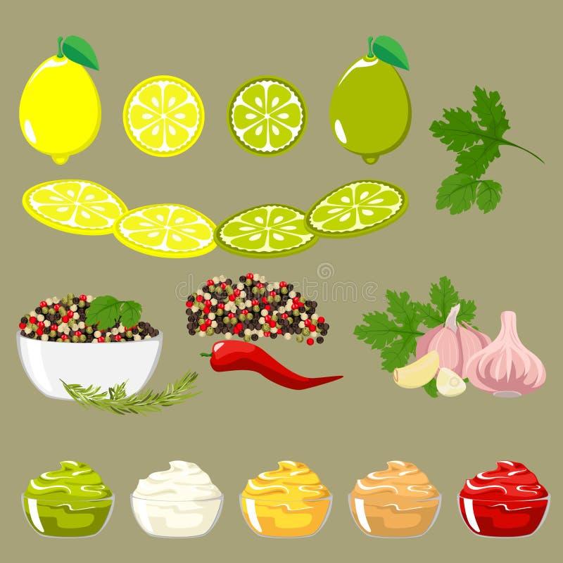 Reeks kruiden en ingrediënten vector illustratie