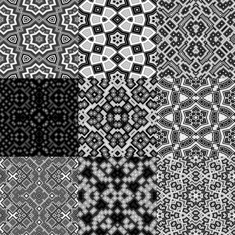 Reeks kubussen caleidoscopische naadloze geproduceerde texturen royalty-vrije illustratie