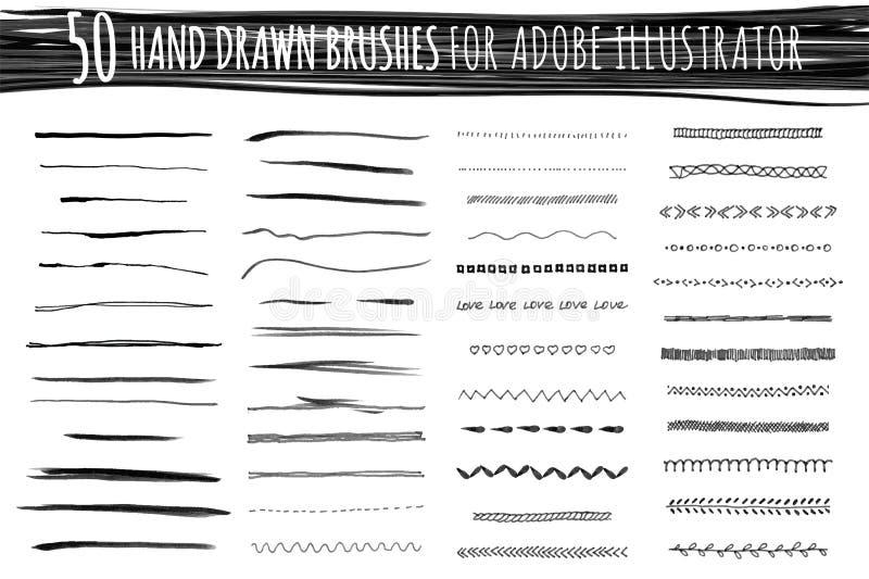 Reeks kunst en patroonborstels vector illustratie