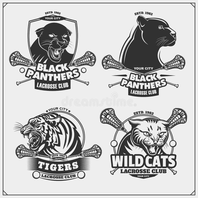 Reeks lacrosseemblemen, kentekens, emblemen en etiketten met tijger, panter en wilde staking royalty-vrije illustratie