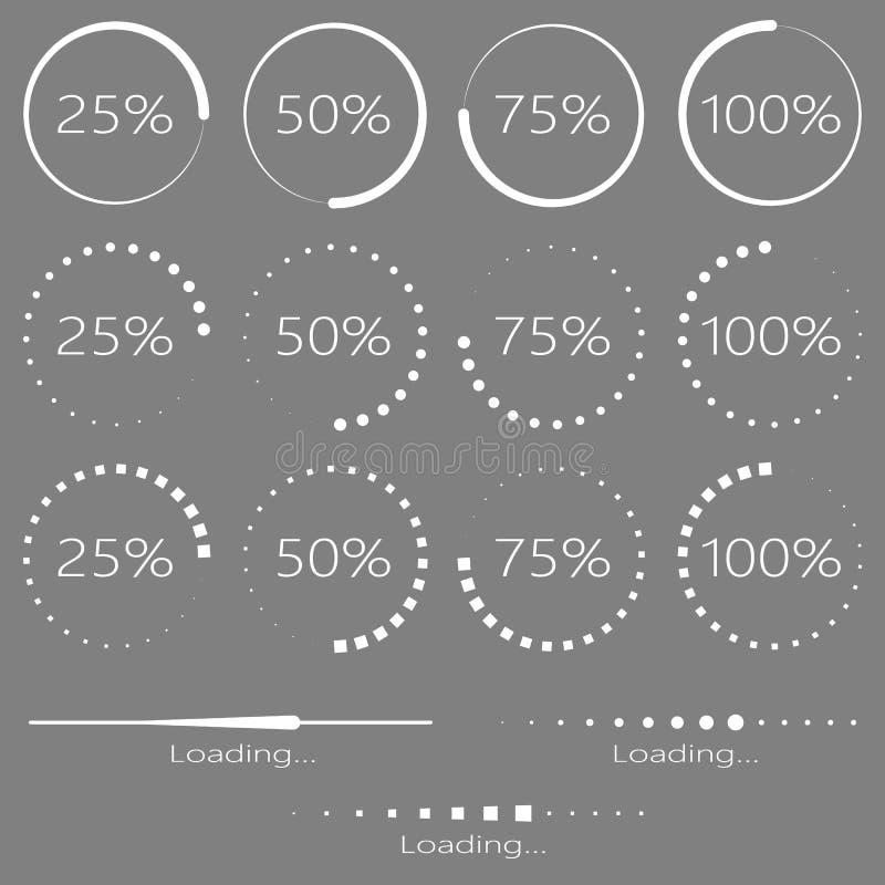 Reeks ladingselementen Preloaders en vooruitgangsbar vector illustratie