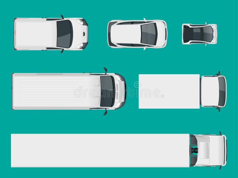 Reeks ladingsvrachtwagens Mening van hierboven Geïsoleerde leveringsvoertuigen Ladingsvrachtwagen en Bestelwagen Vector illustrat stock illustratie
