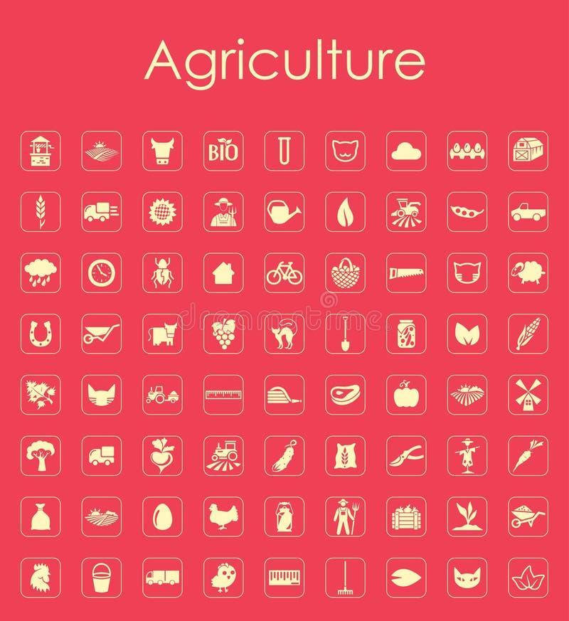 Reeks landbouw eenvoudige pictogrammen vector illustratie