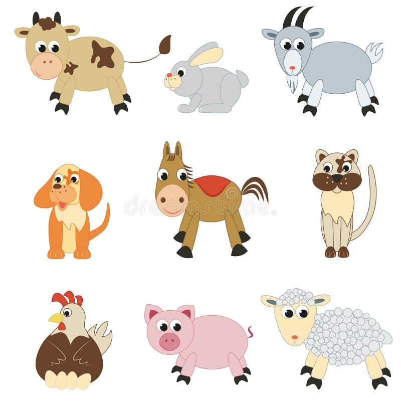 Reeks landbouwbedrijfdieren royalty-vrije illustratie