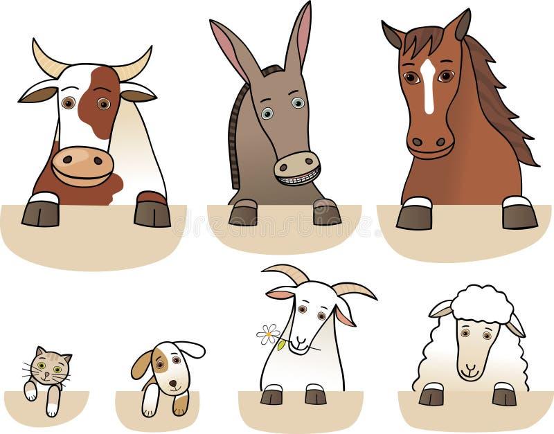 Reeks landbouwbedrijfdieren vector illustratie