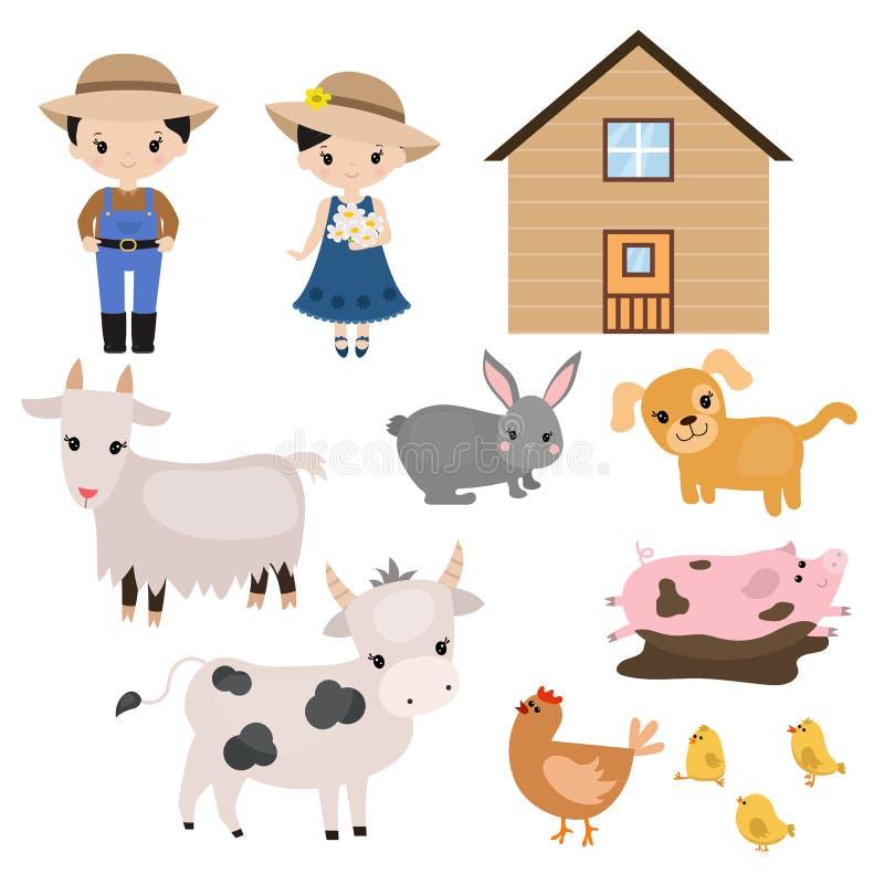 Reeks landbouwbedrijfdieren stock illustratie