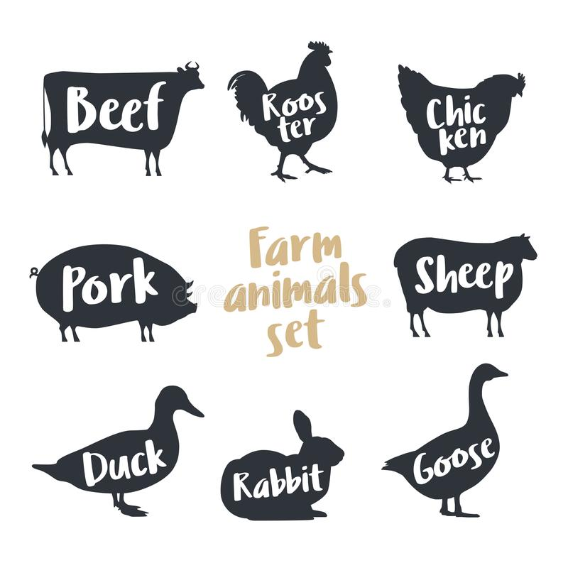 Reeks landbouwbedrijfdieren met steekproeftekst Silhouetteert hand getrokken dieren: koe, haan, kip, schapen, varken, konijn, een vector illustratie
