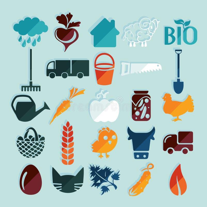 Reeks landbouwpictogrammen stock illustratie
