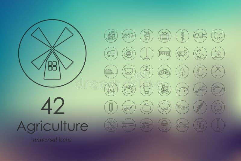 Reeks landbouwpictogrammen royalty-vrije illustratie