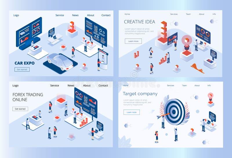 Reeks landigpagina's van auto Expo die, forex, creatief idee, bedrijfdoel handel drijft vector illustratie
