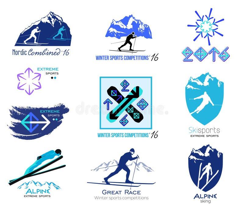 Reeks langlaufski, wintersportenkentekens voor emblemen en etiketten stock illustratie