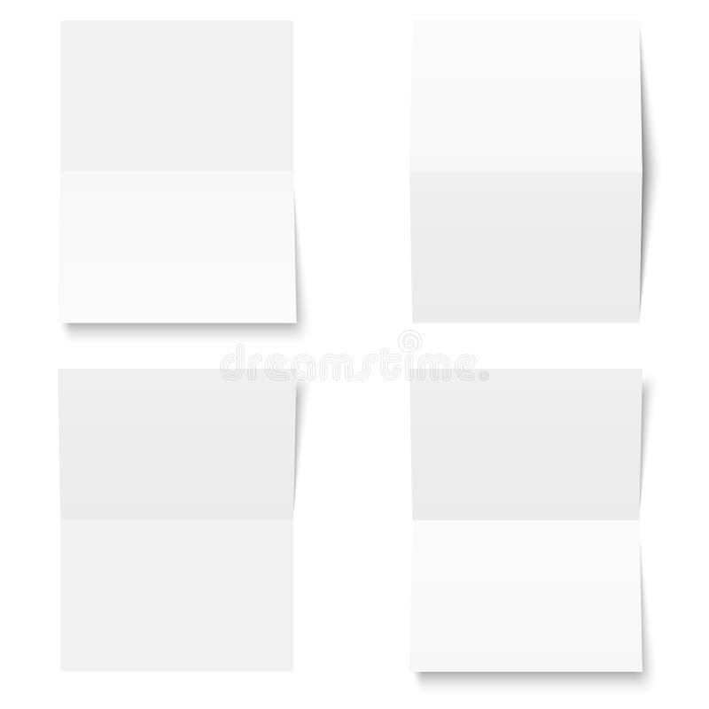 Reeks - leeg blad van gevouwen Witboek - royalty-vrije illustratie