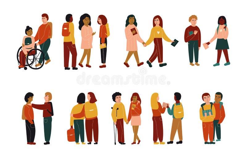 Reeks leerlingen Kinderen die, koesteren, het lezen, die handen houden spreken Meisje in rolstoel, jongen met steunpilaren Vlakke royalty-vrije illustratie