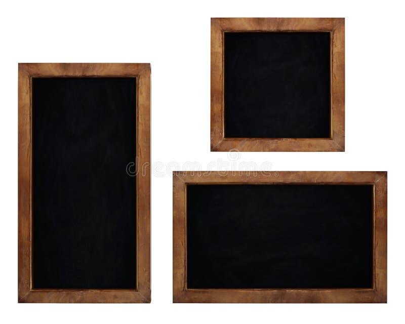 Reeks lege die borden op witte achtergrond wordt geïsoleerd stock illustratie