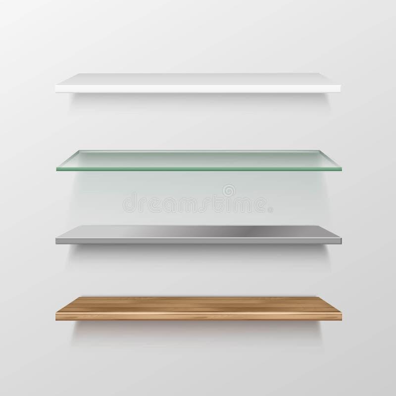 Reeks Lege Houten Glas/metaal- Plastic Planken royalty-vrije illustratie