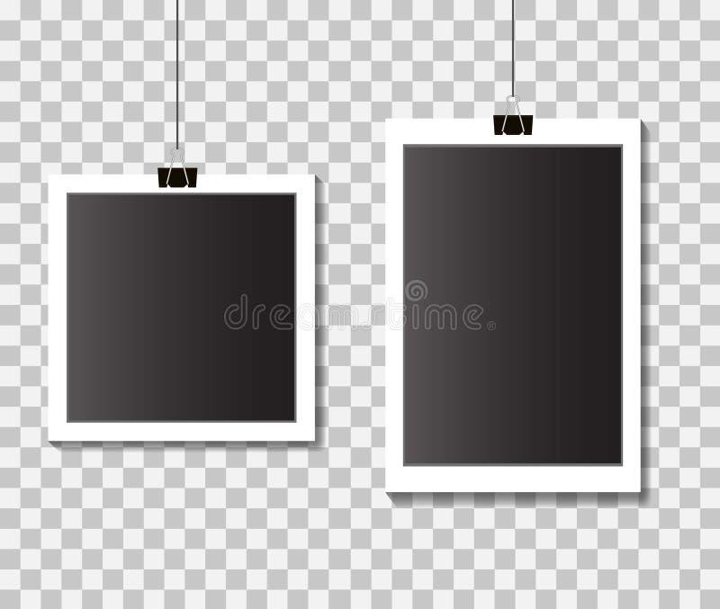 Reeks lege kaders van de malplaatjefoto met klemmen Zwart-witte fotokaders op geïsoleerde achtergrond Vector eps10 stock illustratie