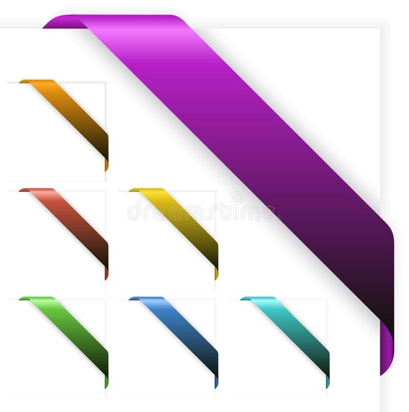 Reeks Lege kleurrijke hoeklinten stock illustratie