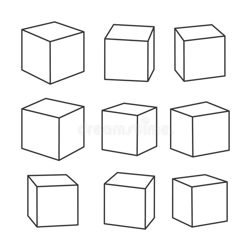 Reeks lege overzichtsstuk speelgoed bakstenen, vectorillustratie voor het kleuren van boek stock illustratie