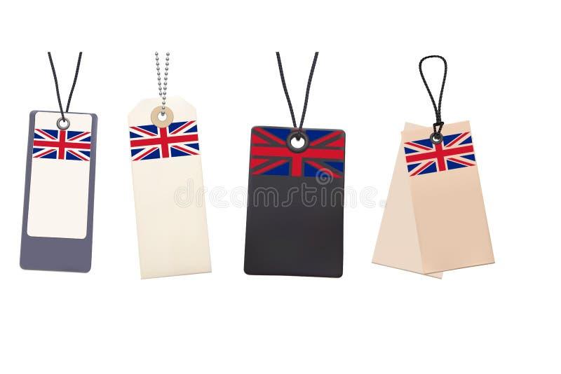 Reeks Lege prijskaartjes met vlag van het UK stock illustratie