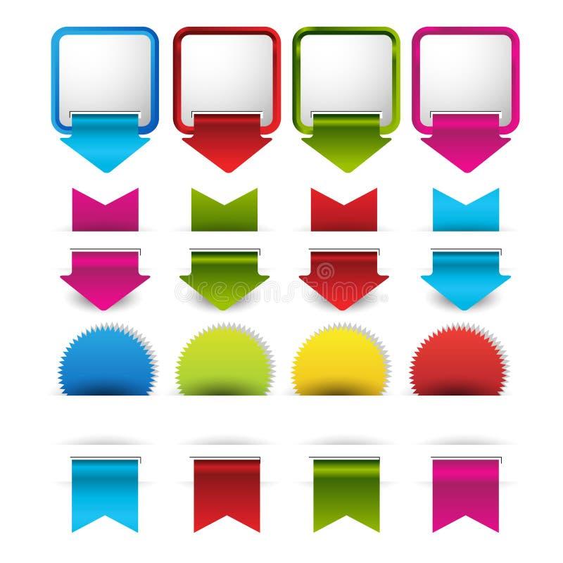 Reeks lege retro uitstekende kentekens, banners, stickers, referentie en etiketten vector illustratie