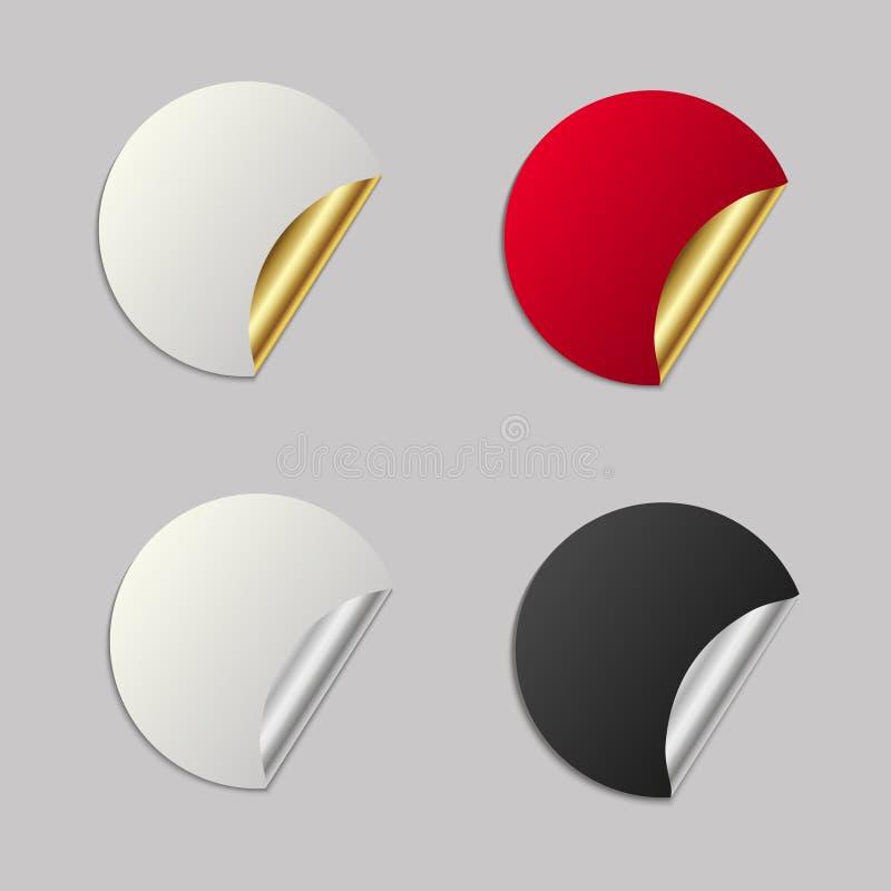 Reeks lege stickers goud en metaal om cirkelmarkeringen Vector stock illustratie