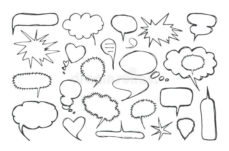 Reeks lege toespraakbellen in de stijl van met de hand gemaakte grafiek stock illustratie