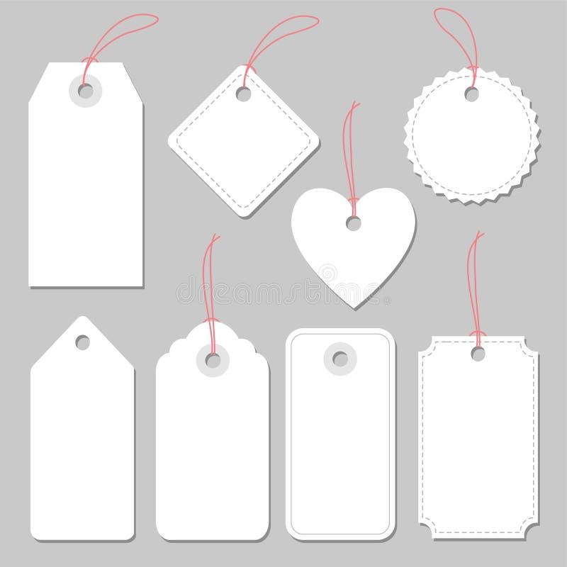 Reeks lege uitstekende kaders, geïsoleerde markeringen en etiketten, vector illustratie