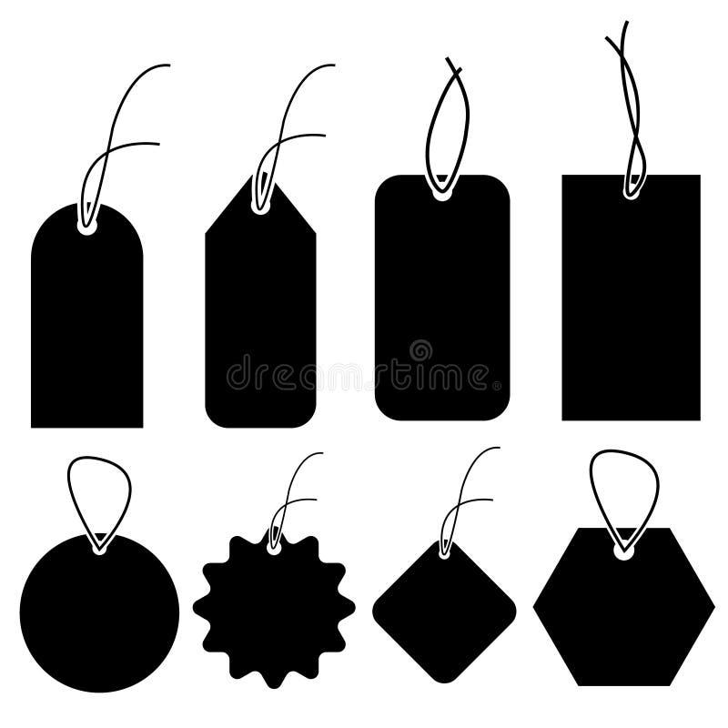 Reeks lege witte prijskaartjes in verschillende vormen Lege die document etiketten met koordmodel op grijze achtergrond wordt geï royalty-vrije illustratie