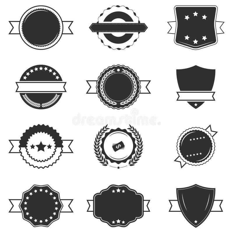 Reeks lege zwart-witte retro etiketten stock illustratie
