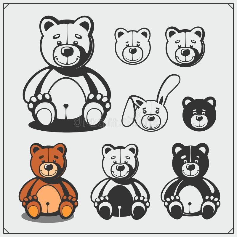 Reeks leuk zacht pluche dierlijk speelgoed Teddy en konijn Vector stock illustratie