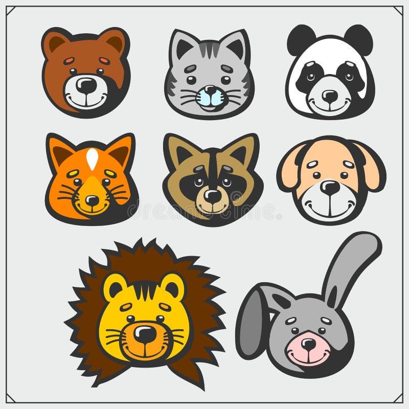 Reeks leuk zacht pluche dierlijk speelgoed Vector stock illustratie