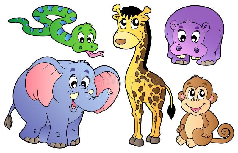 Reeks leuke Afrikaanse dieren royalty-vrije illustratie