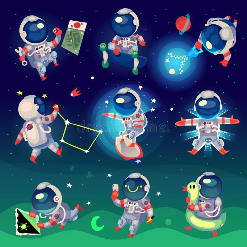 Reeks leuke astronauten in ruimte vector illustratie