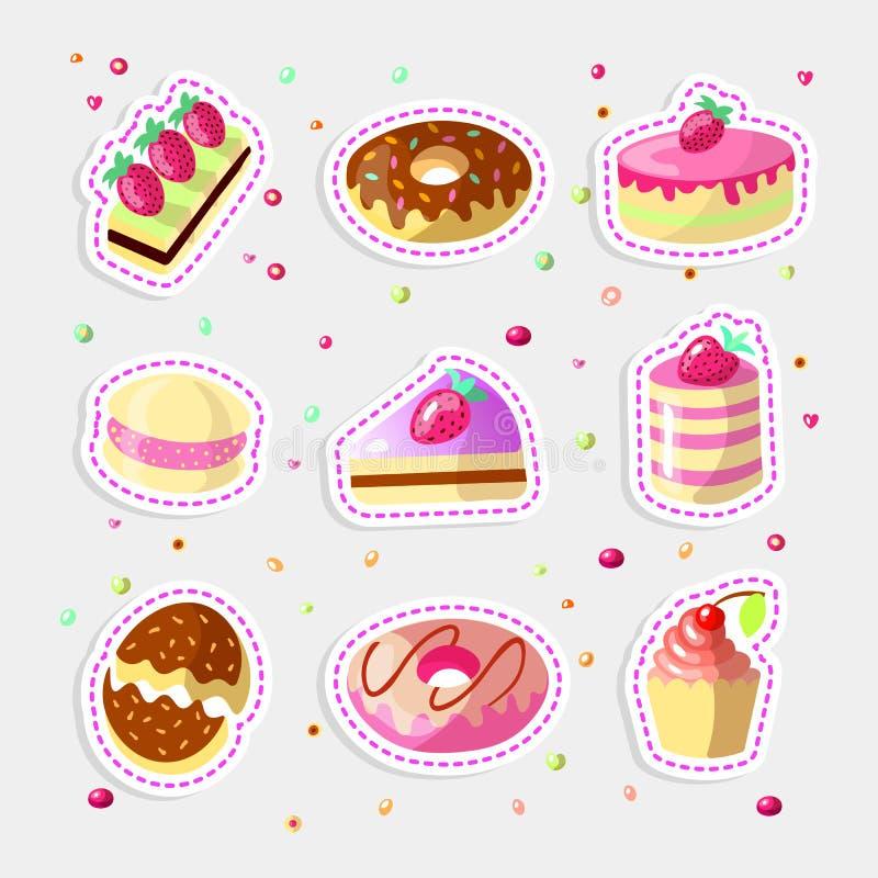 Reeks leuke beeldverhaal zoete cakes en donuts, vectorillustratie Kleurrijke inzameling van cakepictogrammen met aardbei  royalty-vrije illustratie
