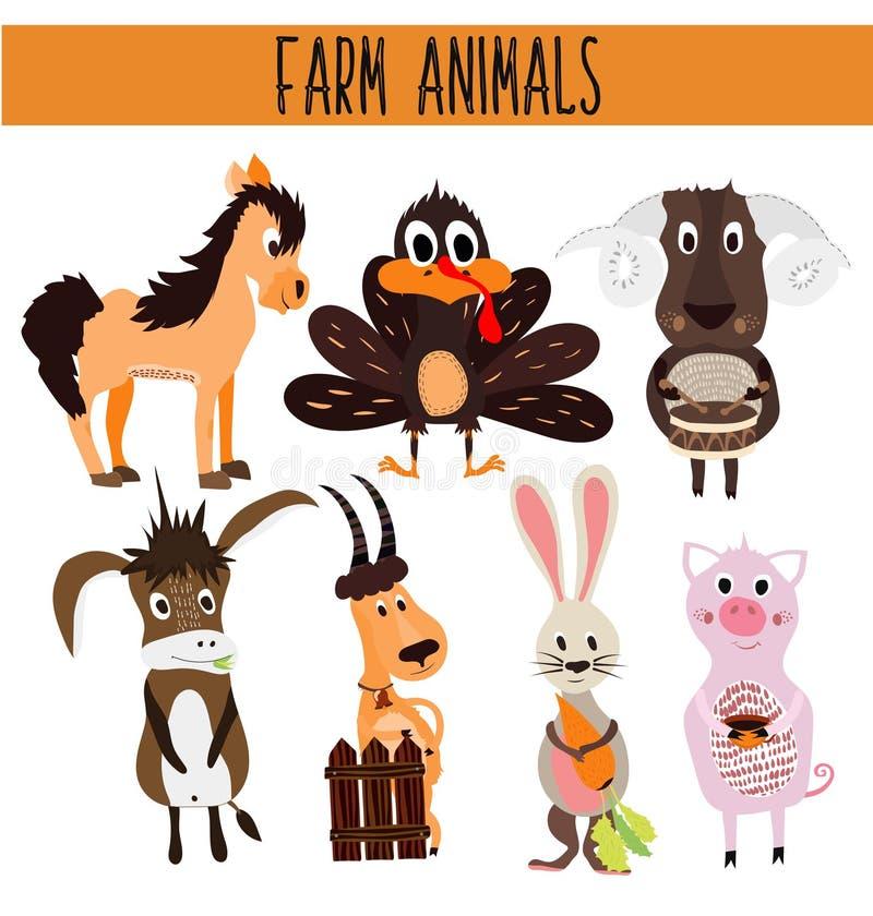 Reeks Leuke beeldverhaaldieren en vogels van het landbouwbedrijf op een witte achtergrond Ezel, schapen, paard, varken, gevogelte vector illustratie
