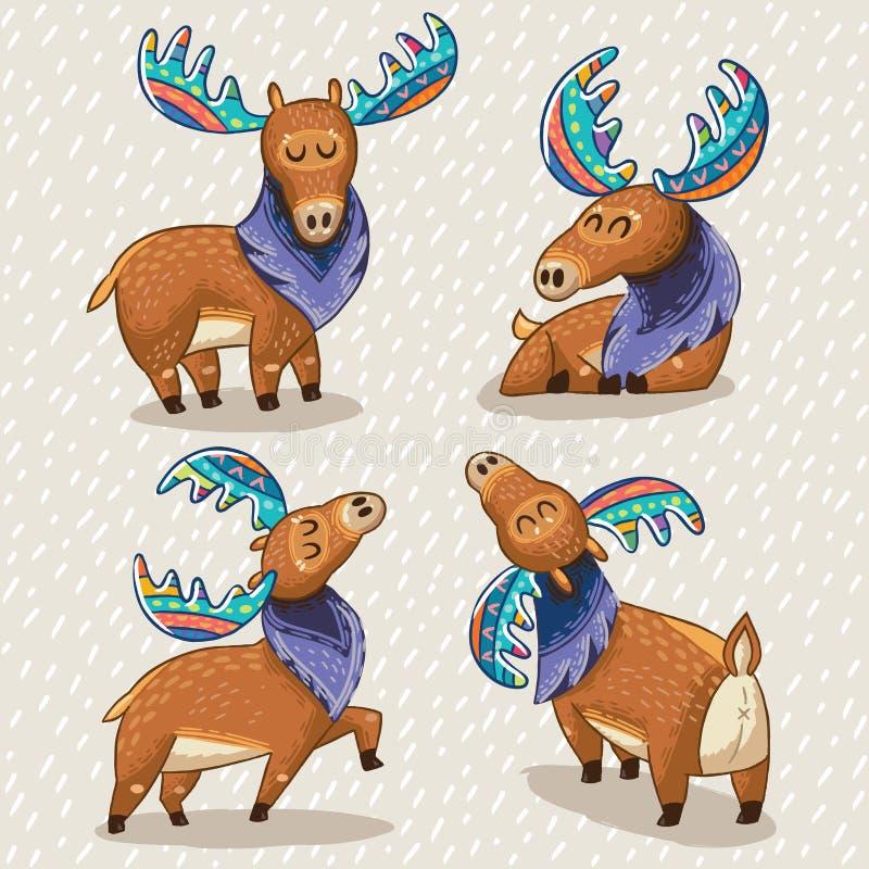 Reeks leuke beeldverhaalhand getrokken elanden vector illustratie