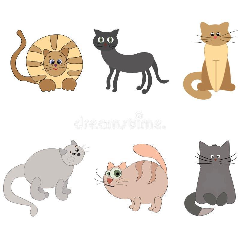 Reeks leuke beeldverhaalpotten of katten met verschillend gekleurd bont royalty-vrije stock afbeelding