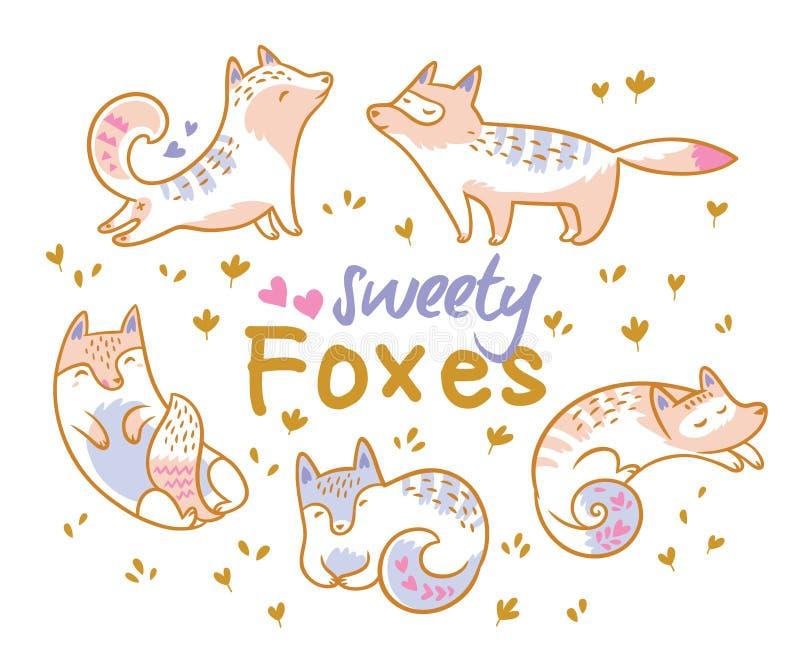 Reeks leuke beeldverhaalvossen, katten Ideaal voor flard, spelden, broche en stickers Vector illustratie stock illustratie