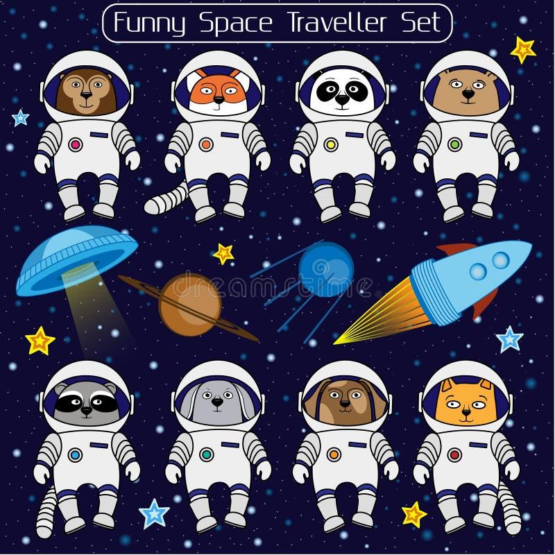 Reeks leuke dierlijke astronauten, de sterrenkosmos van het raket satellietufo royalty-vrije illustratie