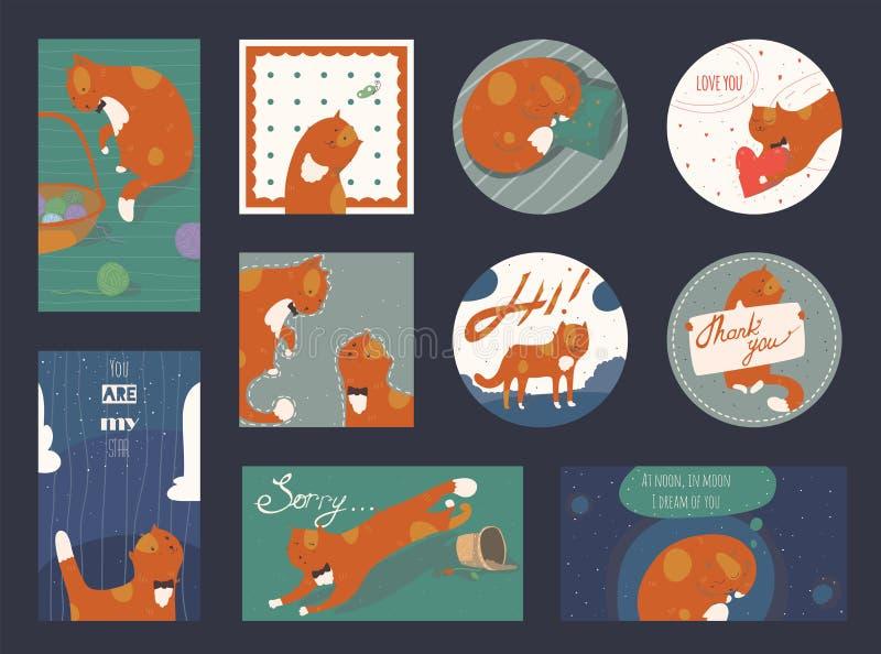 Reeks leuke en funky vierkante en ronde kaarten, horizontaal en verticaal, met grappige gemberkatten Het van letters voorzien omv stock illustratie