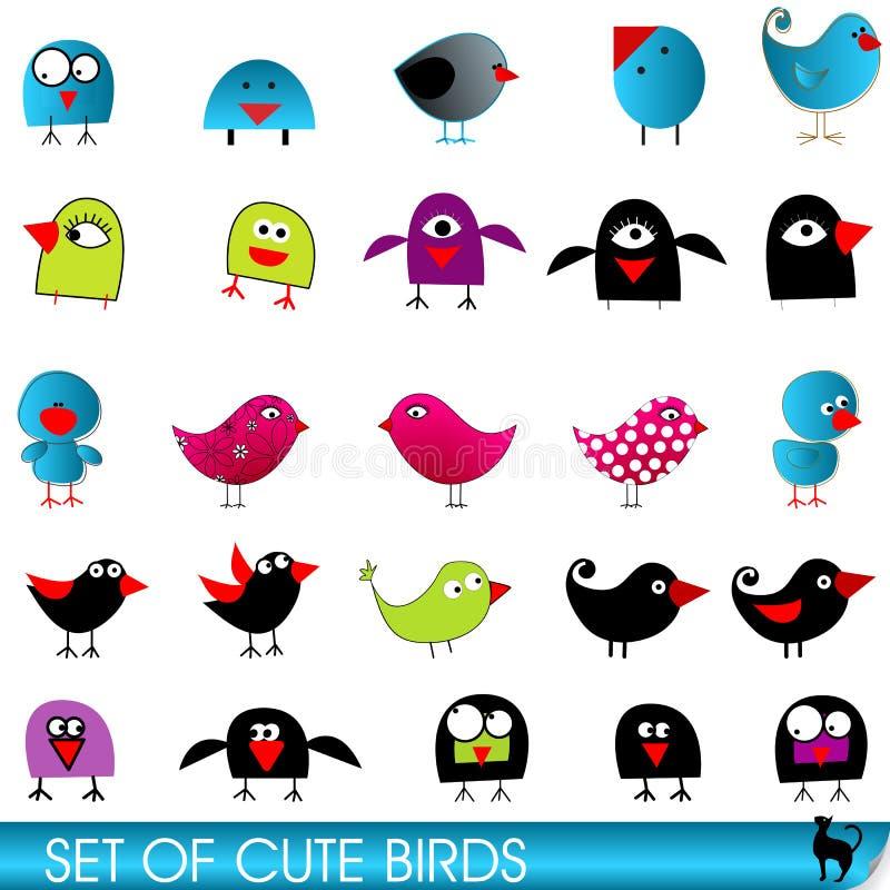 Reeks leuke en grappige vogels vector illustratie