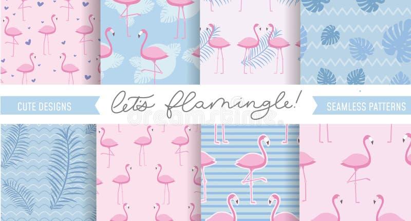 Reeks leuke flamingo en tropische patronen Naadloos patroon des royalty-vrije illustratie