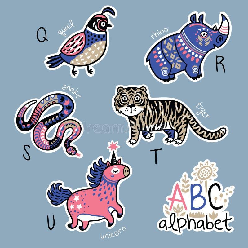 Reeks leuke flardkentekens met dierenalfabet Q - U stock illustratie