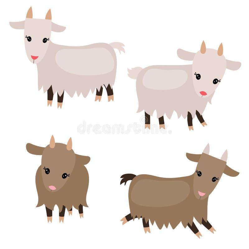 Reeks leuke geiten vector illustratie