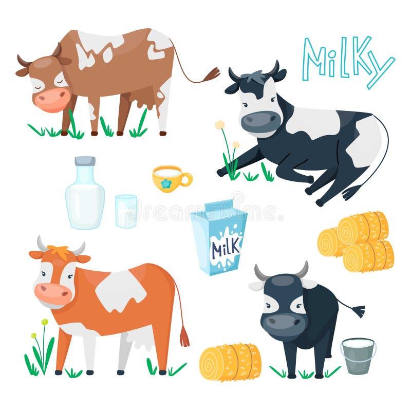 Reeks leuke gelukkige beeldverhaalkoeien met glas melk, kop en hooibergen De landbouwbedrijfdieren in verschillend stelt met zuiv vector illustratie