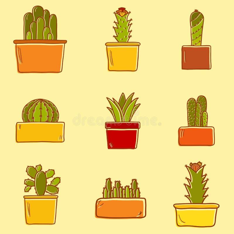 Reeks leuke hand getrokken cactuspictogrammen royalty-vrije illustratie