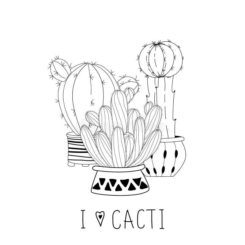 Reeks leuke hand getrokken cactussen bij het witte van letters voorzien als achtergrond en hand stock foto's