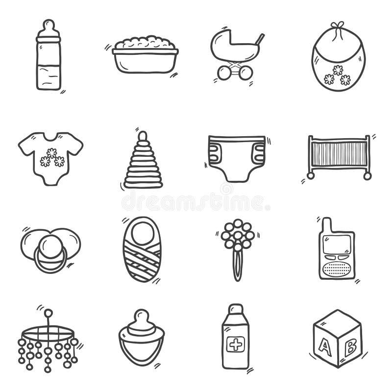 Reeks leuke hand getrokken pictogrammen op babythema stock illustratie