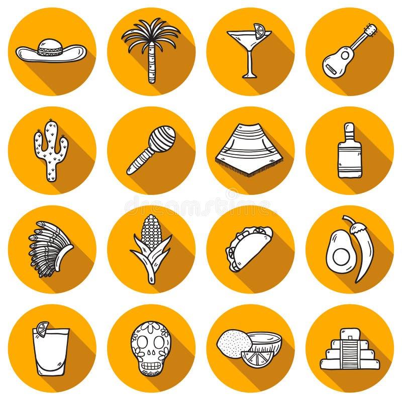 Reeks leuke hand getrokken pictogrammen van het schaduwoverzicht  vector illustratie