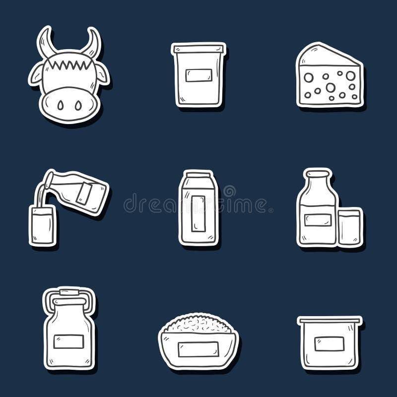 Reeks leuke hand getrokken stickers met producten vector illustratie
